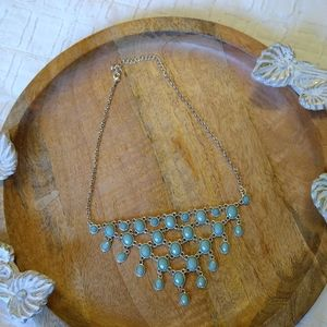 Silver and turquoise faux beaded dangling necklace